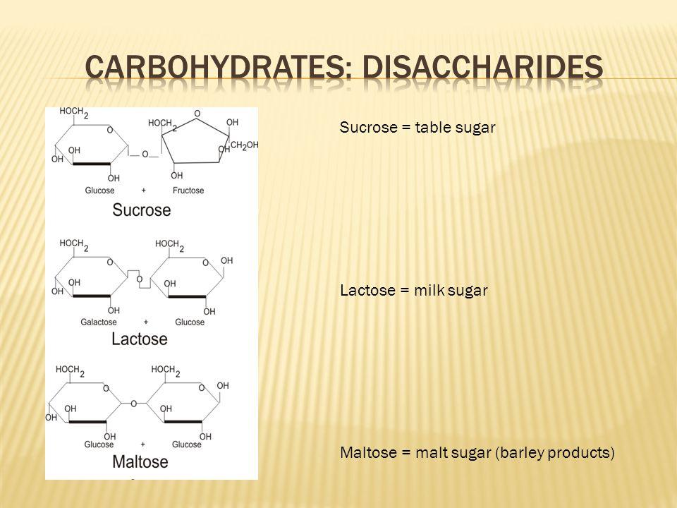 Sucrose = table sugar Lactose = milk sugar Maltose = malt sugar (barley products)