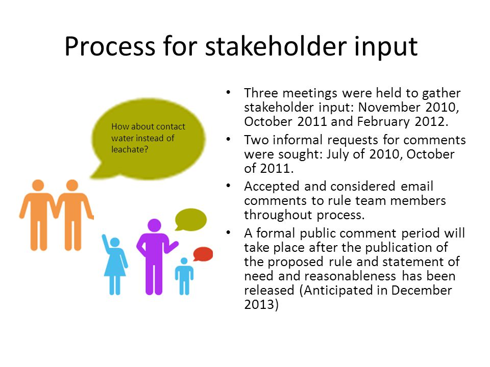 Process for stakeholder input How about contact water instead of leachate? Three meetings were held to gather stakeholder input: November 2010, Octobe