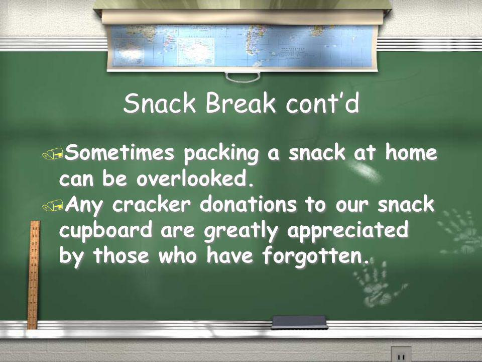 Snack Break cont'd / Sometimes packing a snack at home can be overlooked.