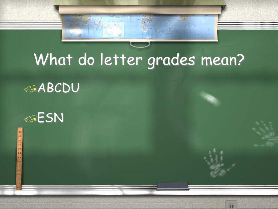 What do letter grades mean? / ABCDU / ESN / ABCDU / ESN