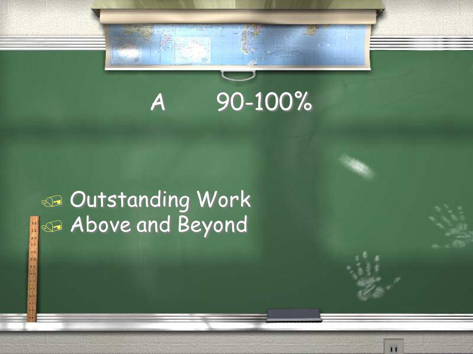 A 90-100% / Outstanding Work / Above and Beyond / Outstanding Work / Above and Beyond