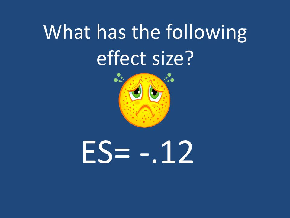 What has the following effect size ES= -.12