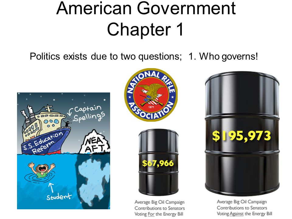 American Government Chapter 1 Politics exists due to two questions; 1. Who governs!