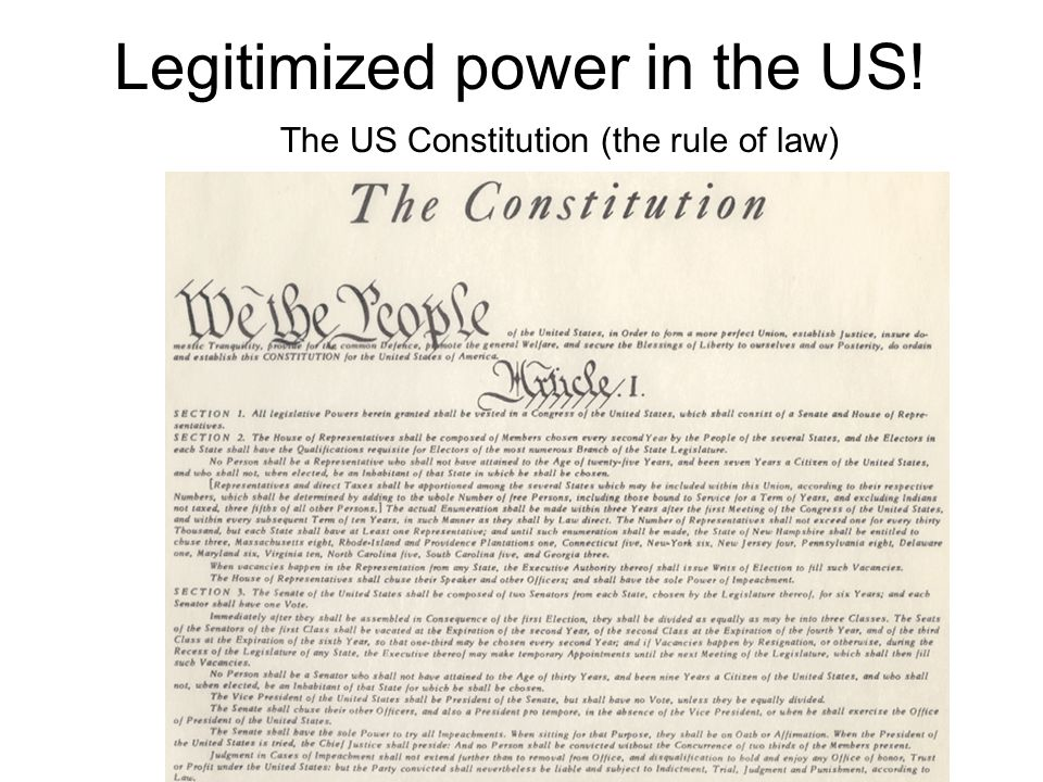 Legitimized power in the US! The US Constitution (the rule of law)
