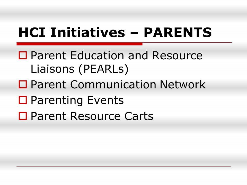 HCI Initiatives – PARENTS  Parent Education and Resource Liaisons (PEARLs)  Parent Communication Network  Parenting Events  Parent Resource Carts