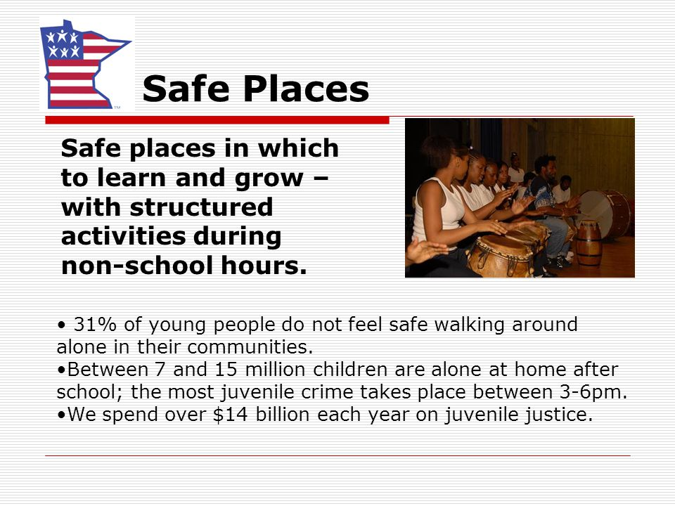 Safe Places Safe places in which to learn and grow – with structured activities during non-school hours. 31% of young people do not feel safe walking