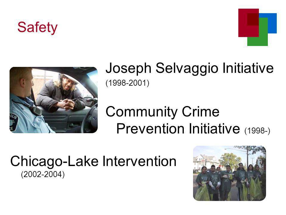 Safety Chicago-Lake Intervention (2002-2004) Joseph Selvaggio Initiative (1998-2001) Community Crime Prevention Initiative (1998-)