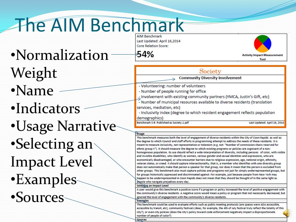 Benchmark Building: Consolidation and Publication