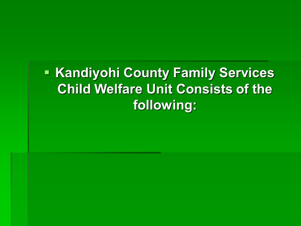  Kandiyohi County Family Services Child Welfare Unit Consists of the following: