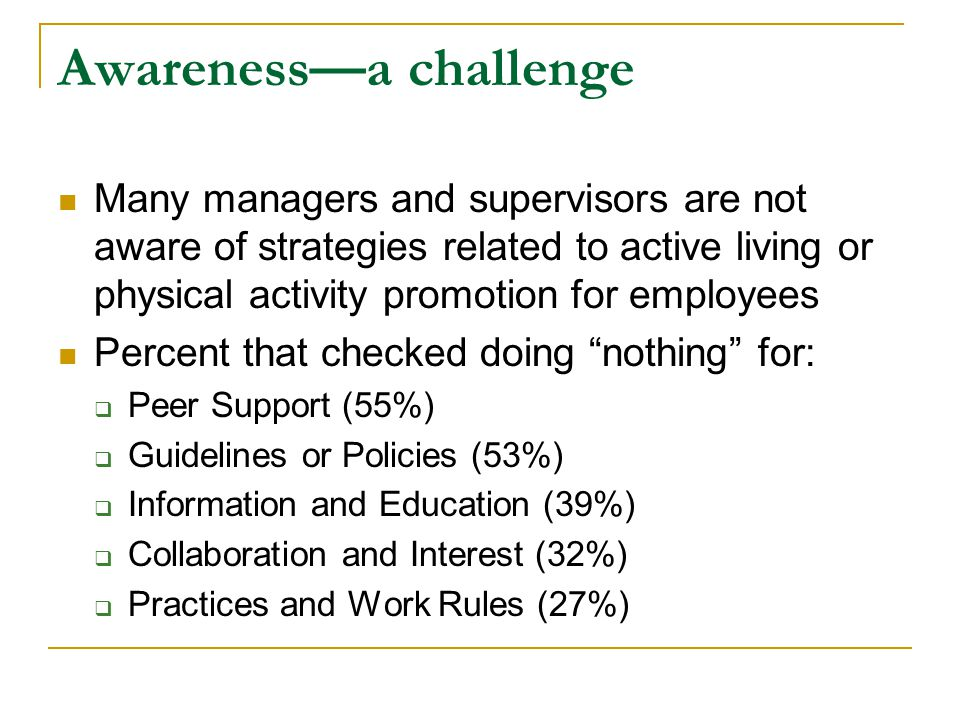 Awareness—a challenge Many managers and supervisors are not aware of strategies related to active living or physical activity promotion for employees Percent that checked doing nothing for:  Peer Support (55%)  Guidelines or Policies (53%)  Information and Education (39%)  Collaboration and Interest (32%)  Practices and Work Rules (27%)