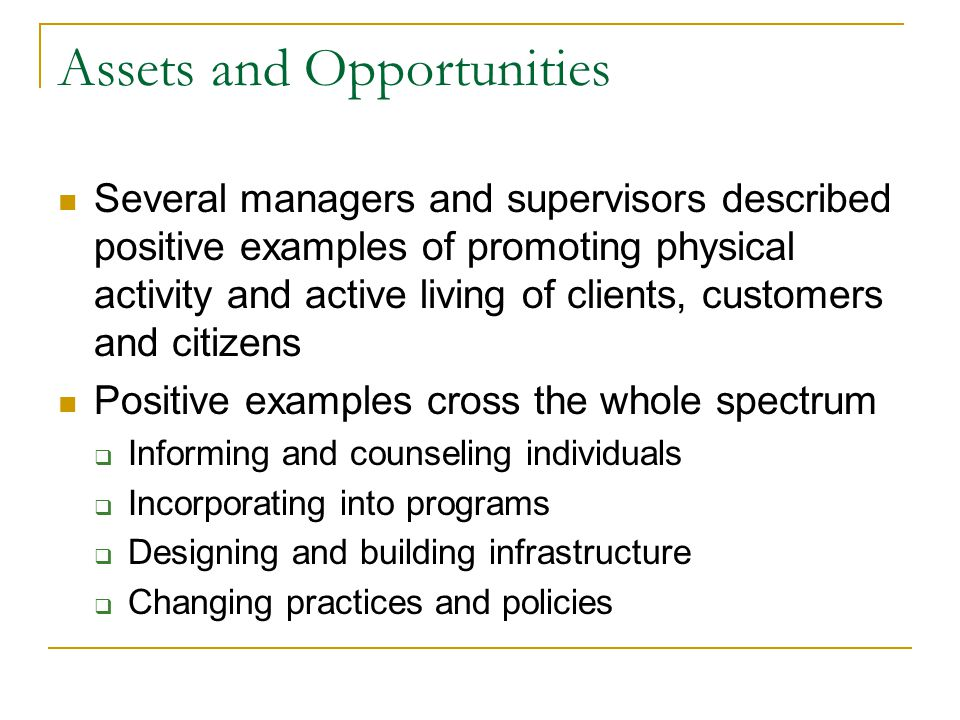 Assets and Opportunities Several managers and supervisors described positive examples of promoting physical activity and active living of clients, customers and citizens Positive examples cross the whole spectrum  Informing and counseling individuals  Incorporating into programs  Designing and building infrastructure  Changing practices and policies
