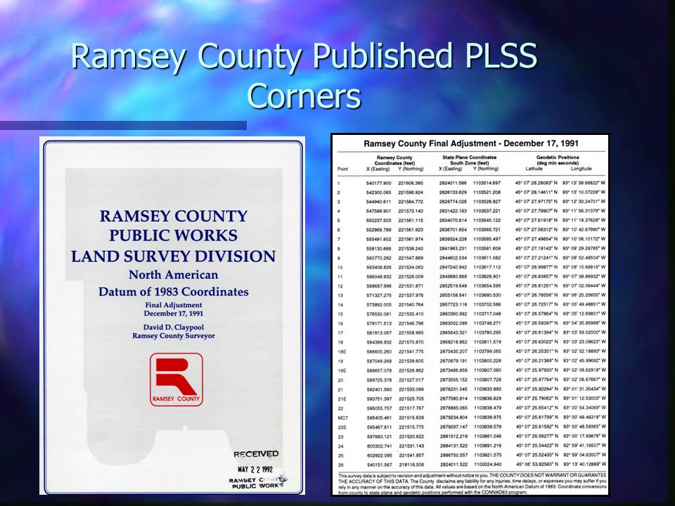 Ramsey County Published PLSS Corners