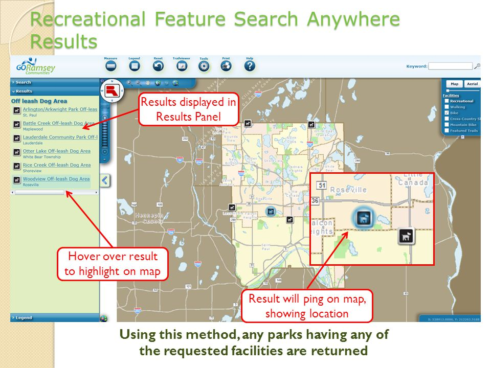 Recreational Feature Search Anywhere Results Results displayed in Results Panel Hover over result to highlight on map Result will ping on map, showing location Using this method, any parks having any of the requested facilities are returned