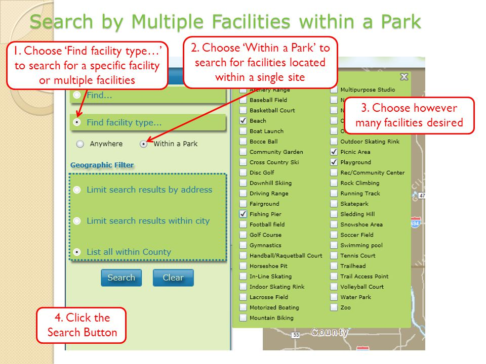 Search by Multiple Facilities within a Park 2.