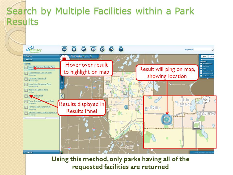 Search by Multiple Facilities within a Park Results Results displayed in Results Panel Hover over result to highlight on map Result will ping on map, showing location Using this method, only parks having all of the requested facilities are returned