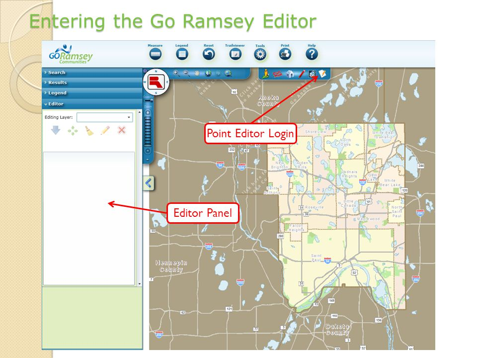 Entering the Go Ramsey Editor Point Editor Login Editor Panel
