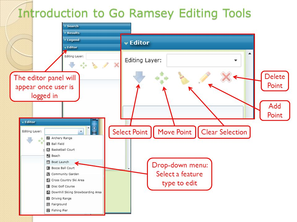 Introduction to Go Ramsey Editing Tools The editor panel will appear once user is logged in Select Point Delete Point Clear SelectionMove Point Add Point Drop-down menu: Select a feature type to edit