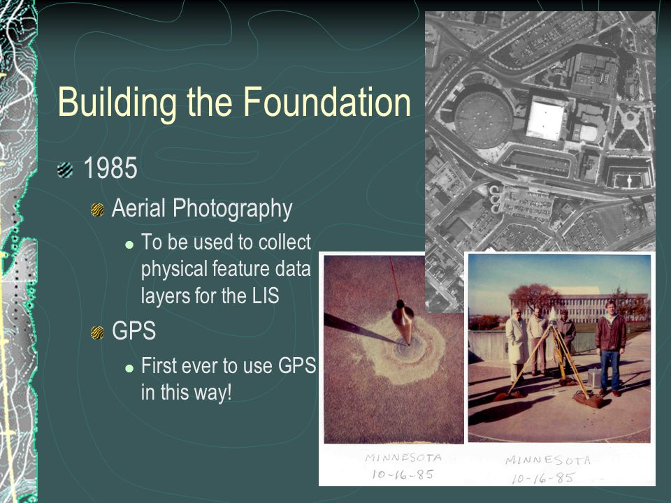 Building the Foundation 1985 Aerial Photography To be used to collect physical feature data layers for the LIS GPS First ever to use GPS in this way!