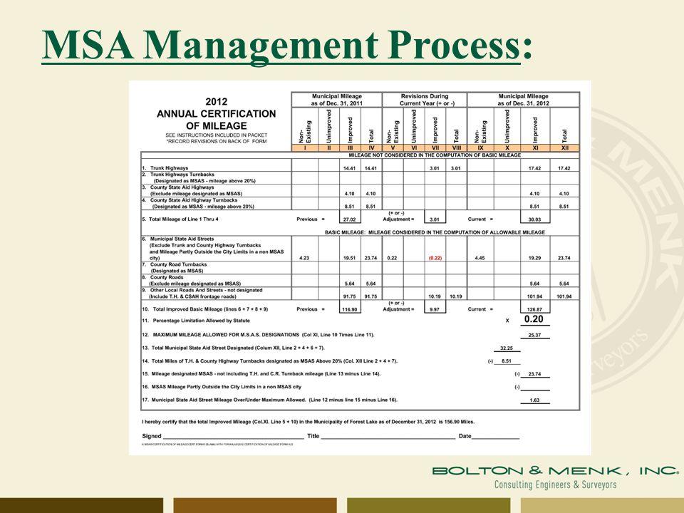 MSA Management Process: