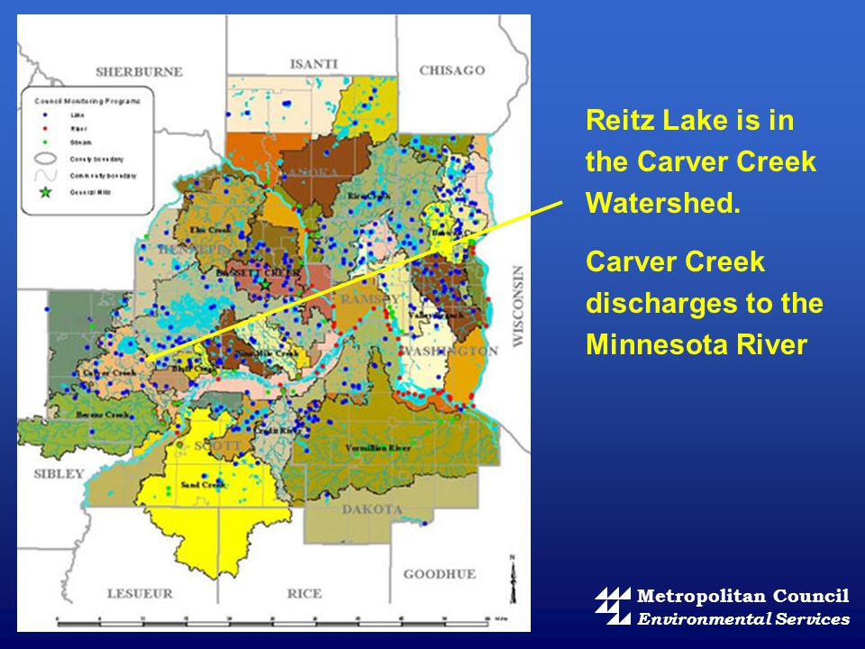 Reitz Lake is in the Carver Creek Watershed. Carver Creek discharges to the Minnesota River Metropolitan Council Environmental Services