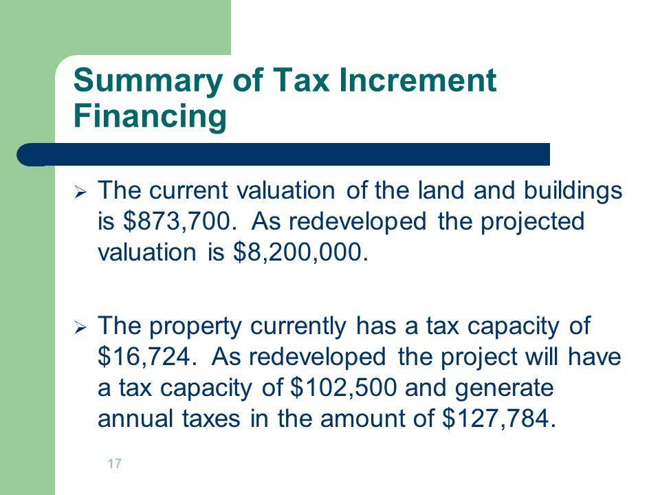 Summary of Tax Increment Financing  The current valuation of the land and buildings is $873,700.