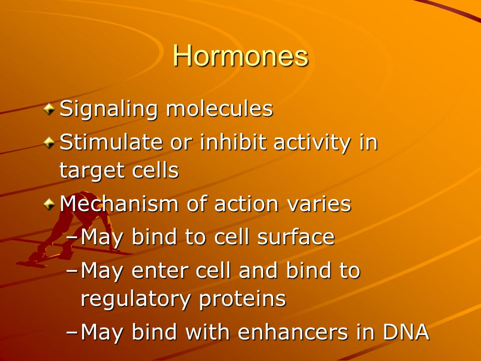 Hormones Signaling molecules Stimulate or inhibit activity in target cells Mechanism of action varies –May bind to cell surface –May enter cell and bi