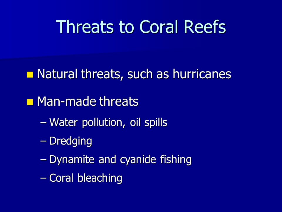 Threats to Coral Reefs Natural threats, such as hurricanes Natural threats, such as hurricanes Man-made threats Man-made threats –Water pollution, oil spills –Dredging –Dynamite and cyanide fishing –Coral bleaching
