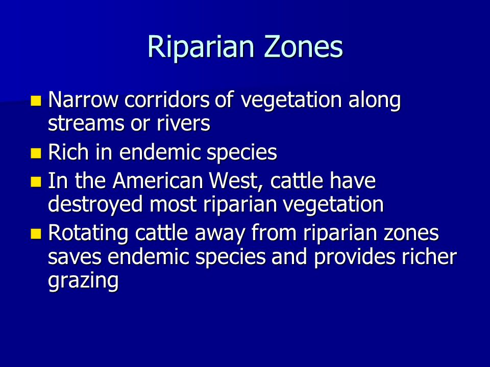 Riparian Zones Narrow corridors of vegetation along streams or rivers Narrow corridors of vegetation along streams or rivers Rich in endemic species Rich in endemic species In the American West, cattle have destroyed most riparian vegetation In the American West, cattle have destroyed most riparian vegetation Rotating cattle away from riparian zones saves endemic species and provides richer grazing Rotating cattle away from riparian zones saves endemic species and provides richer grazing