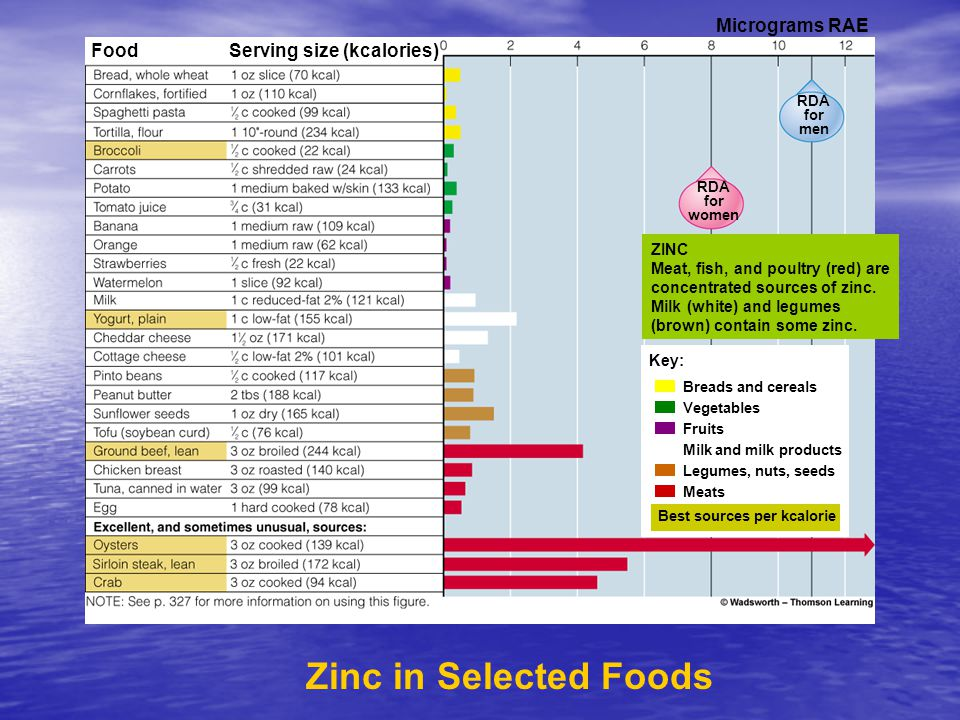 Zinc in Selected Foods Label Key: Fruits Milk and milk products Legumes, nuts, seeds Meats Best sources per kcalorie Breads and cereals Vegetables ZINC Meat, fish, and poultry (red) are concentrated sources of zinc.
