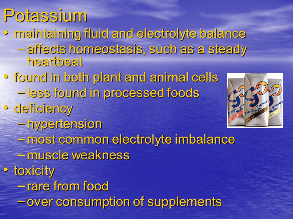 What Processing Does to Sodium and Potassium Contents of Foods Milk (whole) Unprocessed Peach pie Processed Canned, cream corn Instant pudding Oat cereal Fresh peaches Milks Chipped beef Vegetables Fresh corn Meats Roast beef Fruits Rolled oats Grains Sodium Potassium Key: