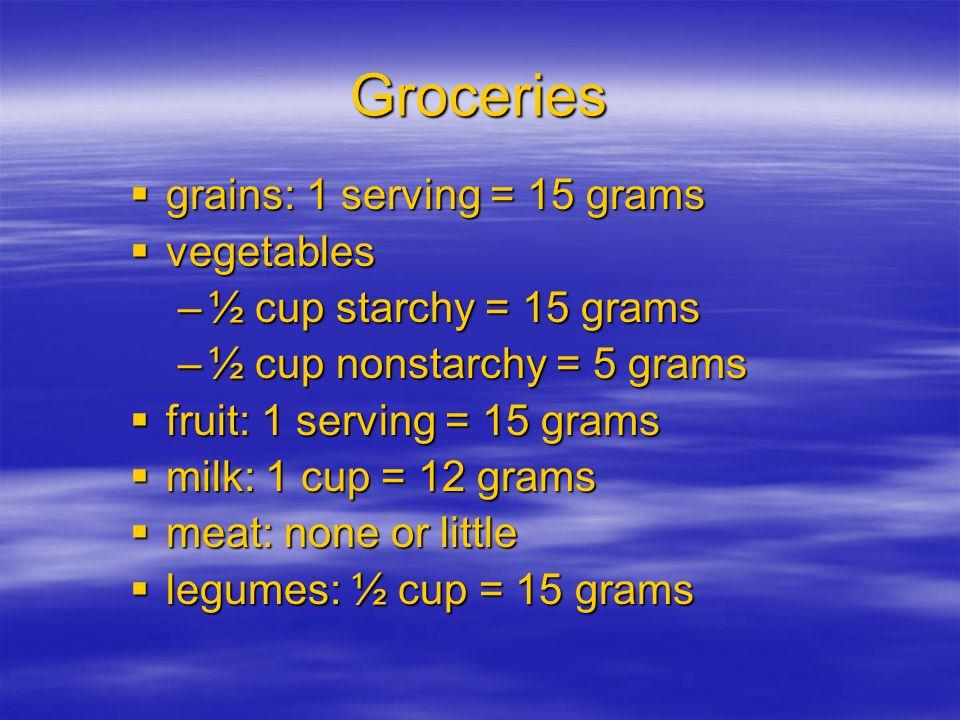 Groceries  grains: 1 serving = 15 grams  vegetables –½ cup starchy = 15 grams –½ cup nonstarchy = 5 grams  fruit: 1 serving = 15 grams  milk: 1 cu