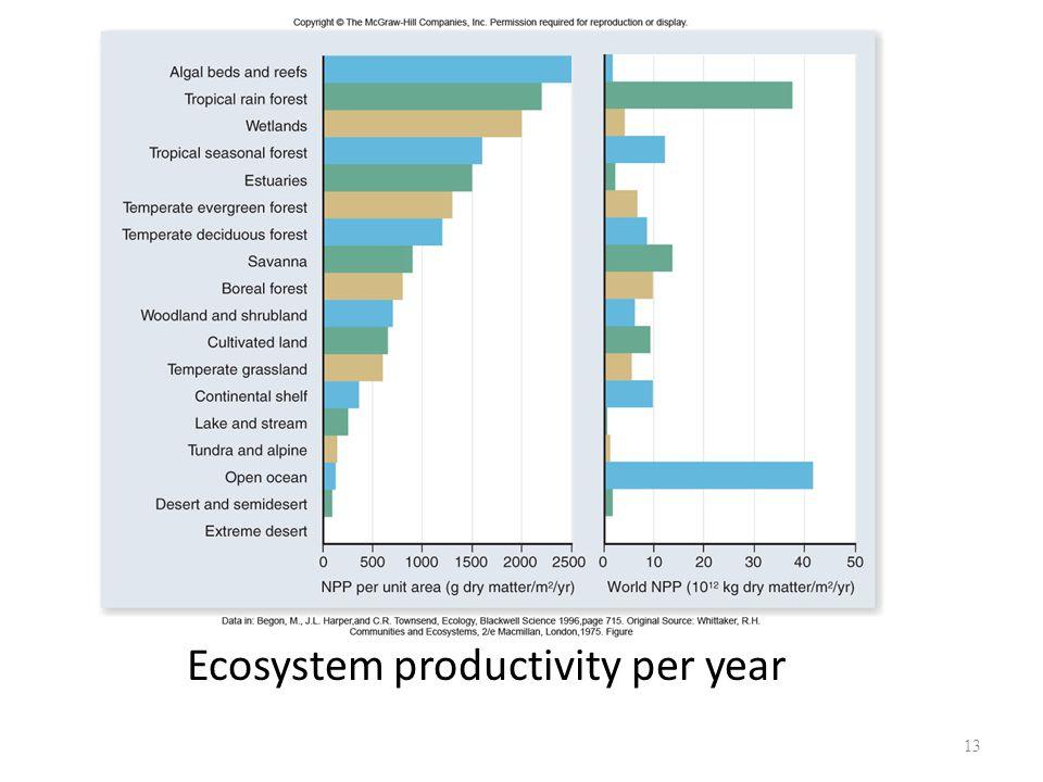 13 Ecosystem productivity per year