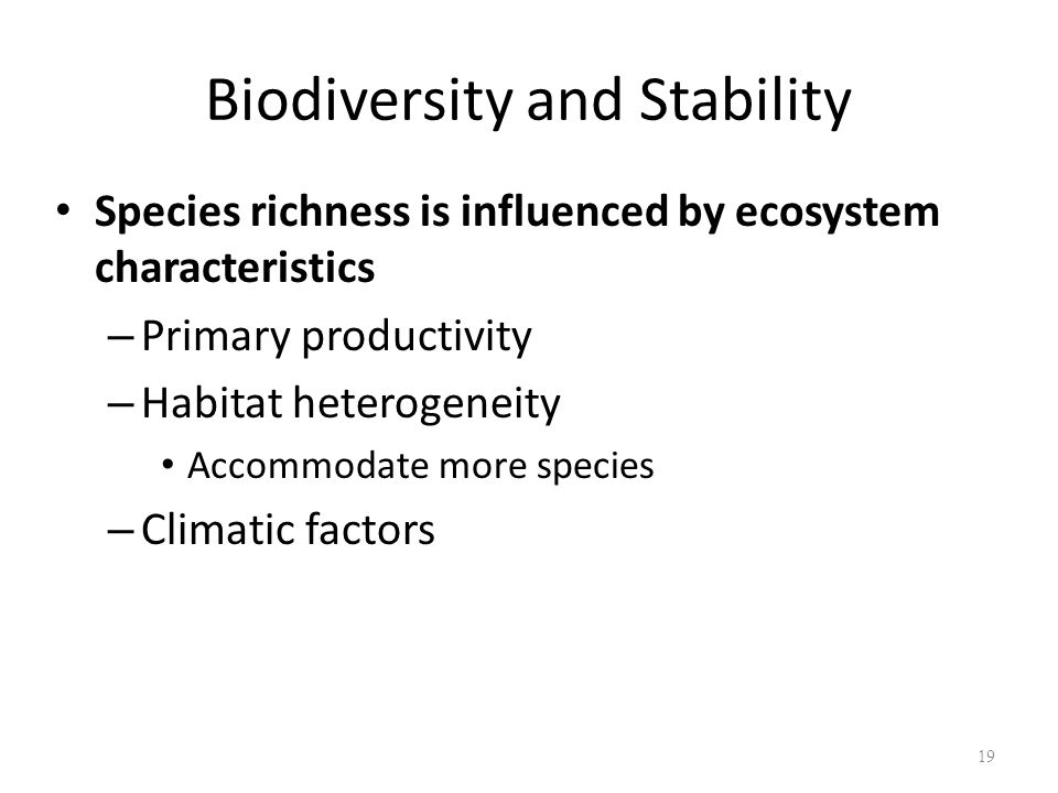 19 Species richness is influenced by ecosystem characteristics – Primary productivity – Habitat heterogeneity Accommodate more species – Climatic factors Biodiversity and Stability