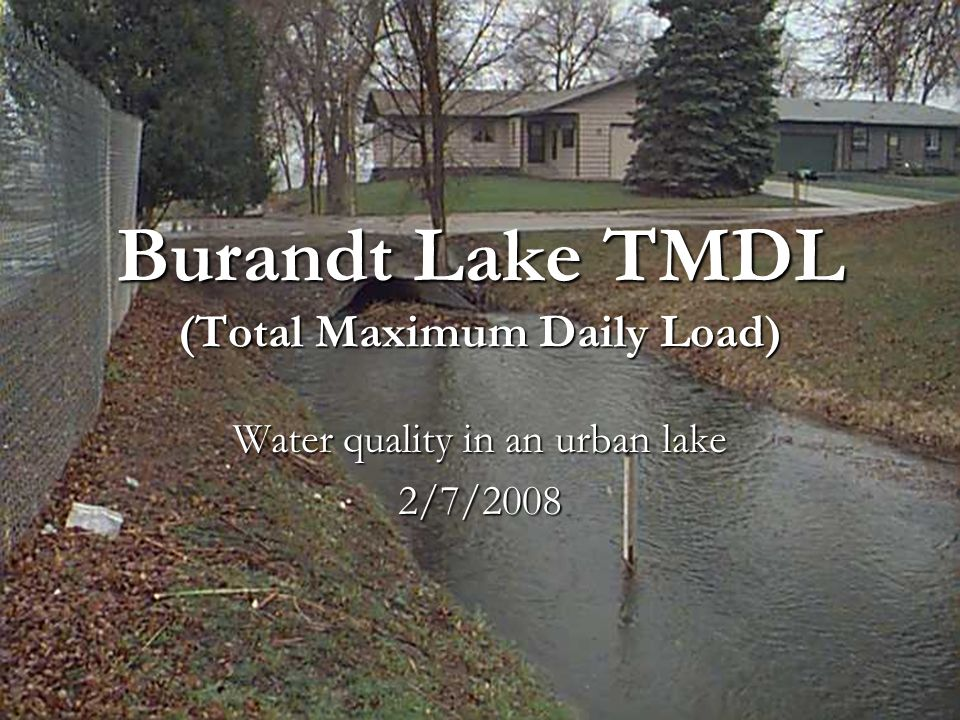 Burandt Lake TMDL (Total Maximum Daily Load) Water quality in an urban lake 2/7/2008
