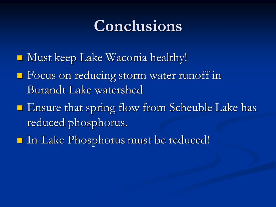 Conclusions Must keep Lake Waconia healthy. Must keep Lake Waconia healthy.