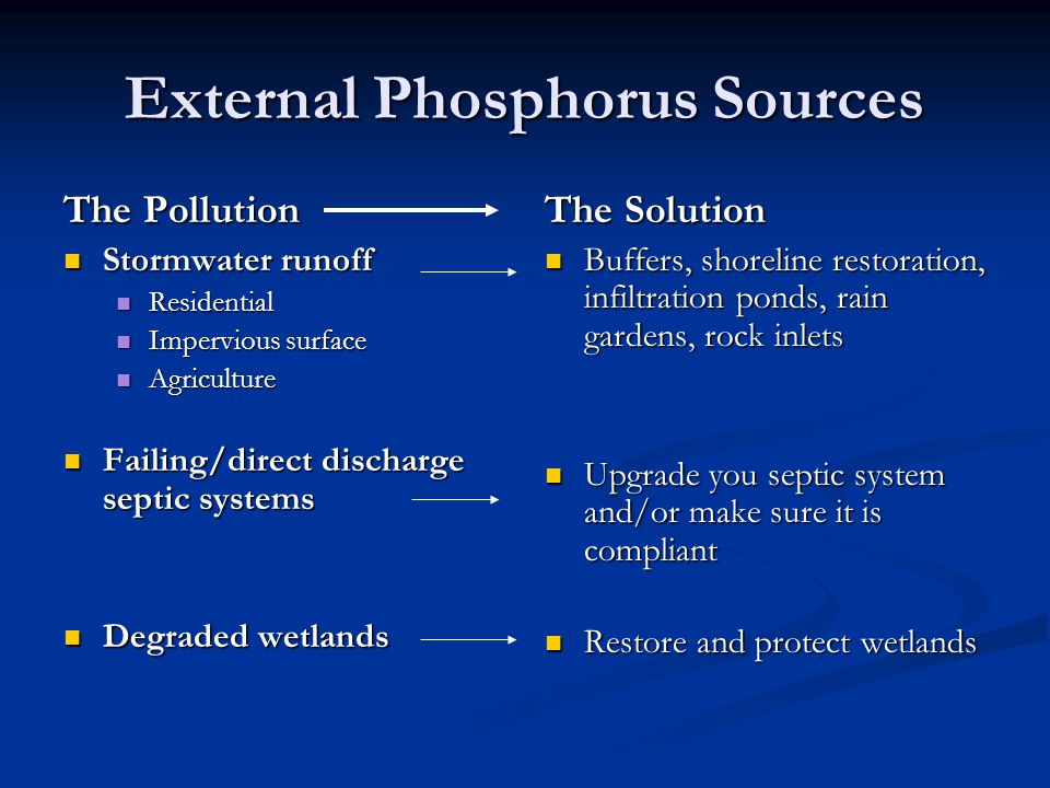 External Phosphorus Sources The Pollution Stormwater runoff Stormwater runoff Residential Residential Impervious surface Impervious surface Agriculture Agriculture Failing/direct discharge septic systems Failing/direct discharge septic systems Degraded wetlands Degraded wetlands The Solution Buffers, shoreline restoration, infiltration ponds, rain gardens, rock inlets Upgrade you septic system and/or make sure it is compliant Restore and protect wetlands