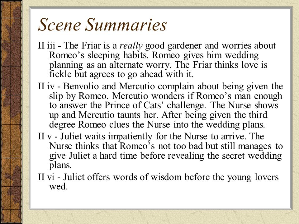 Scene Summaries II iii - The Friar is a really good gardener and worries about Romeo's sleeping habits.