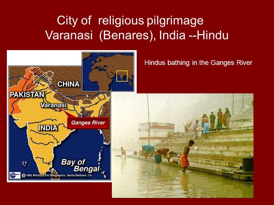 City of religious pilgrimage Varanasi (Benares), India --Hindu Hindus bathing in the Ganges River