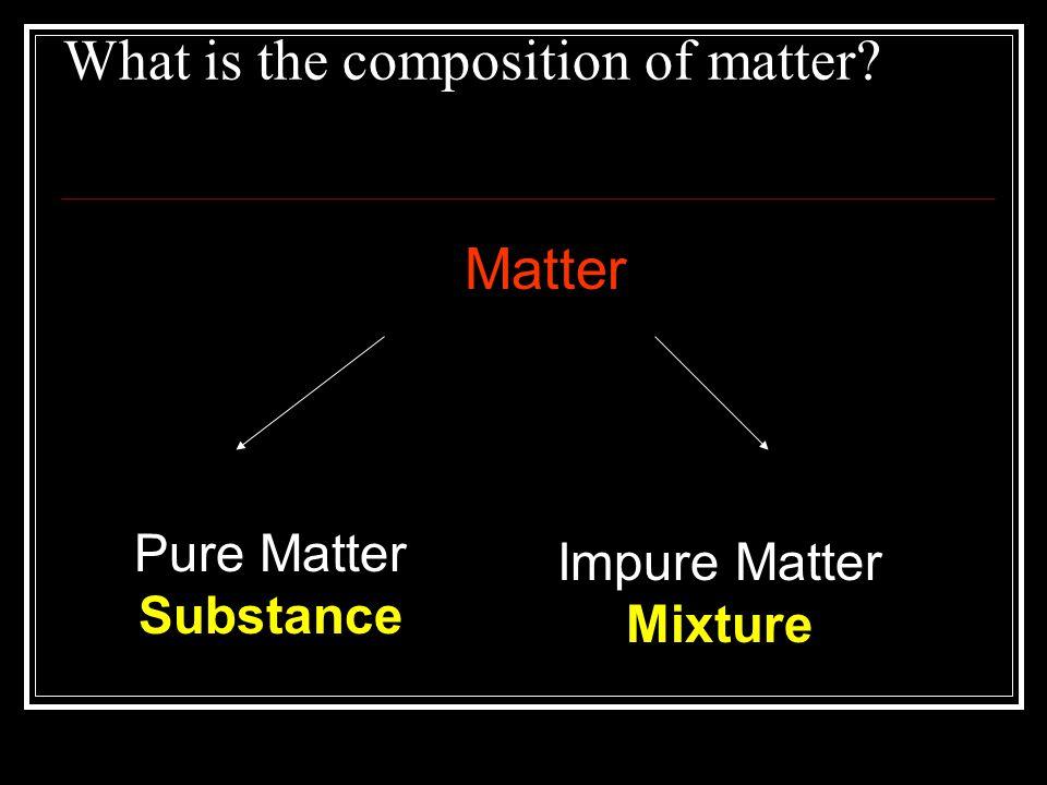 What is the composition of matter? Matter Pure Matter Substance Impure Matter Mixture