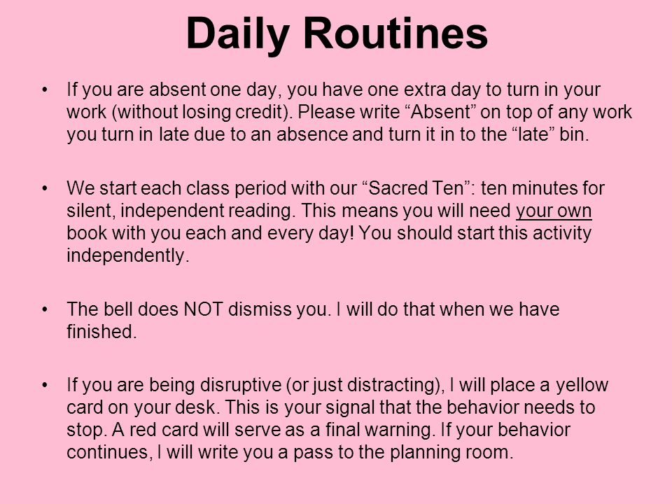 Daily Routines Our daily agenda is posted on the back board each day.