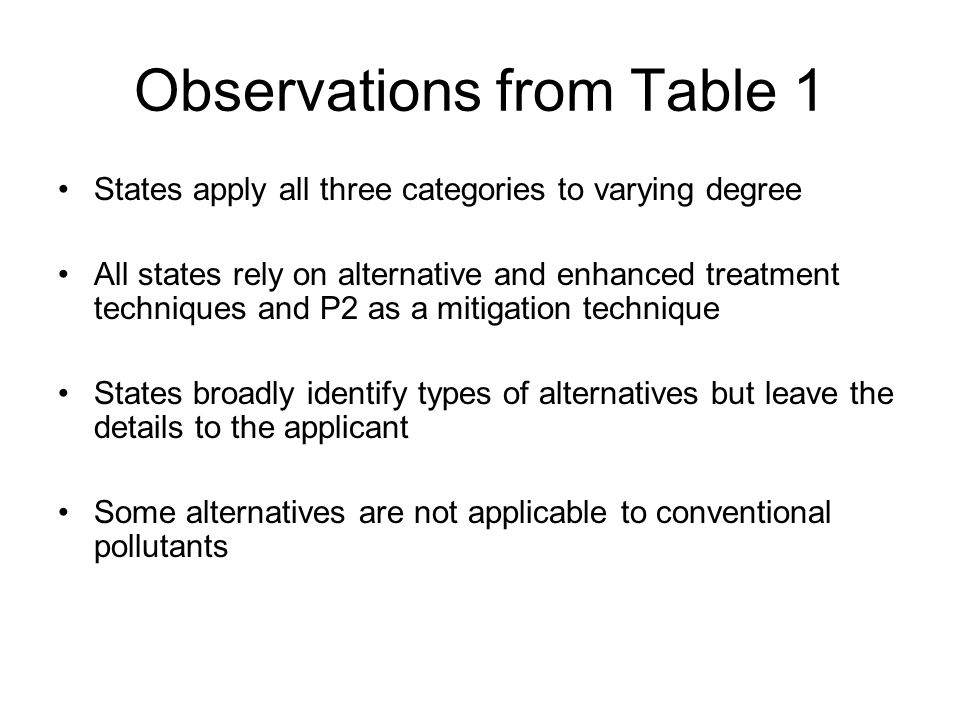 Observations from Table 1 States apply all three categories to varying degree All states rely on alternative and enhanced treatment techniques and P2 as a mitigation technique States broadly identify types of alternatives but leave the details to the applicant Some alternatives are not applicable to conventional pollutants