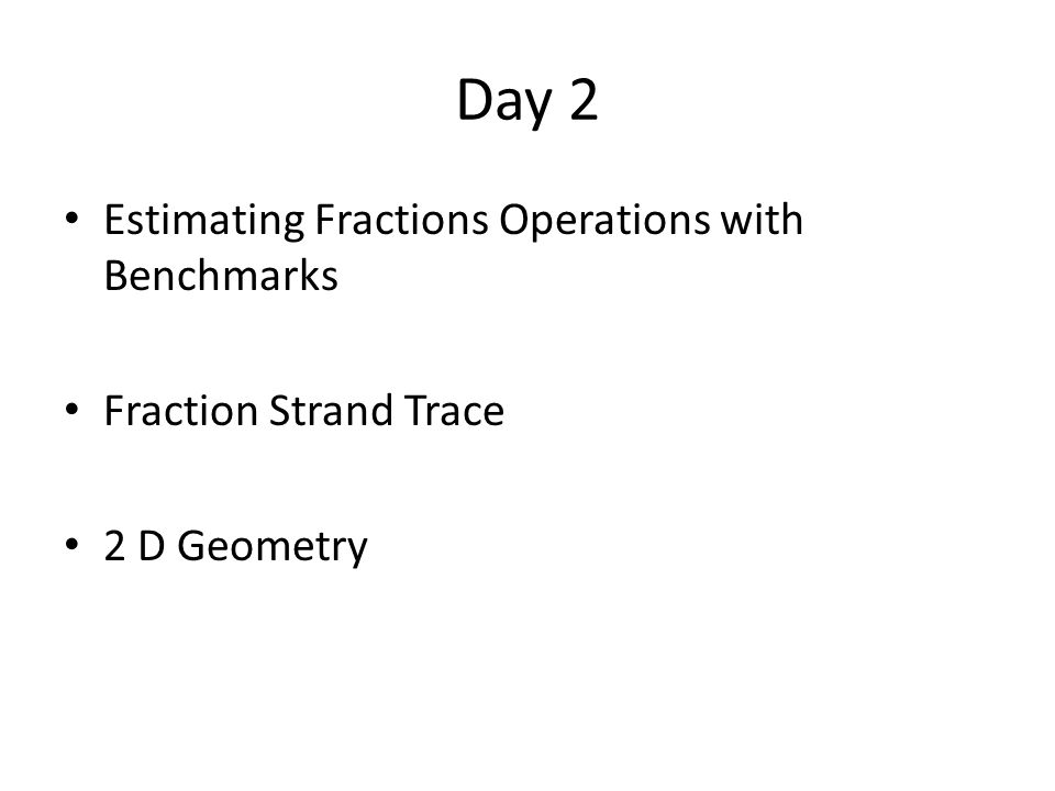 Day 2 Estimating Fractions Operations with Benchmarks Fraction Strand Trace 2 D Geometry
