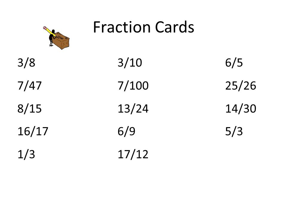 Fraction Cards 3/83/106/5 7/477/10025/26 8/1513/2414/30 16/176/95/3 1/317/12