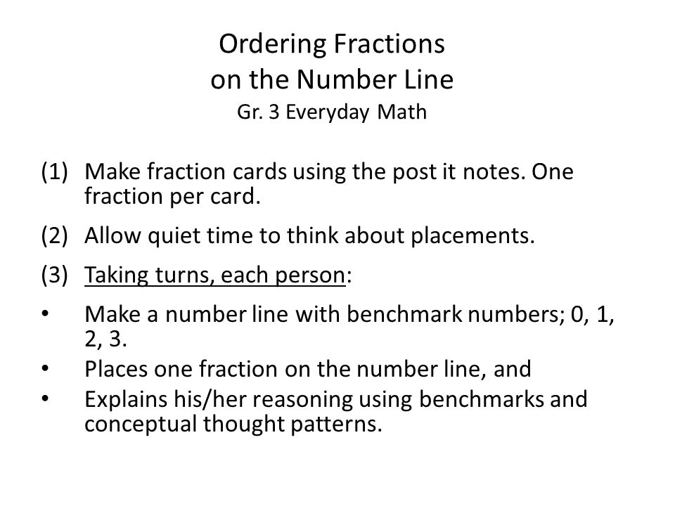 Ordering Fractions on the Number Line Gr.