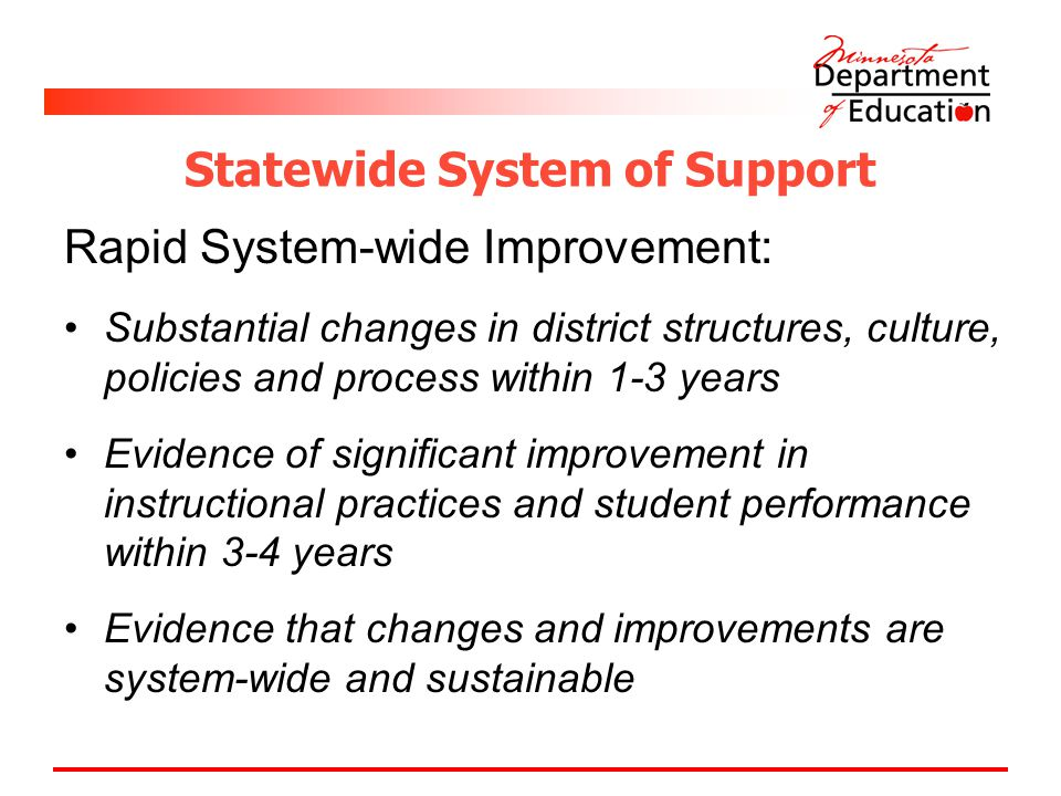 Statewide System of Support Rapid System-wide Improvement: Substantial changes in district structures, culture, policies and process within 1-3 years