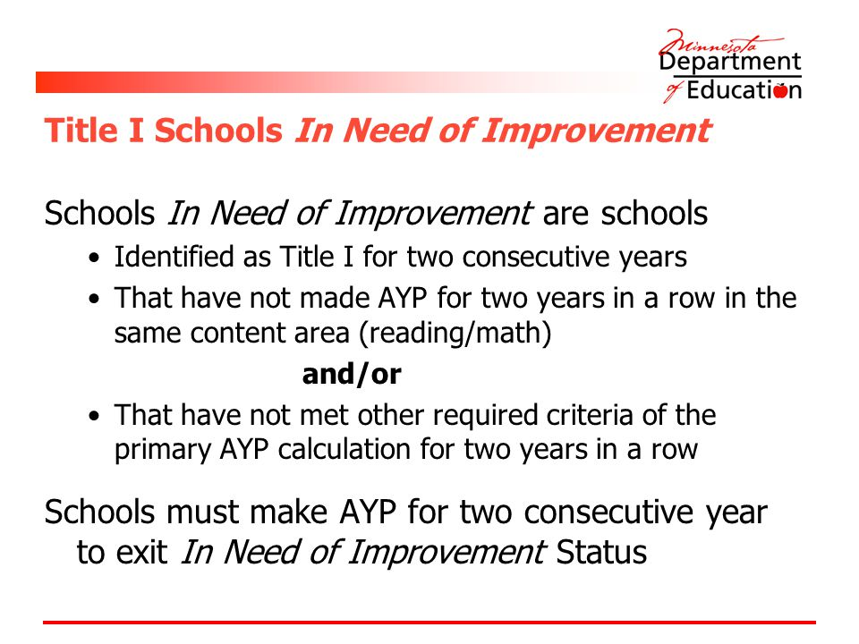 Title I Schools In Need of Improvement Schools In Need of Improvement are schools Identified as Title I for two consecutive years That have not made A