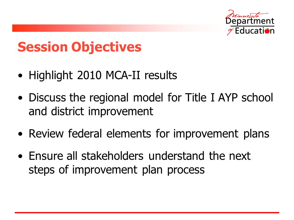 Session Objectives Highlight 2010 MCA-II results Discuss the regional model for Title I AYP school and district improvement Review federal elements fo