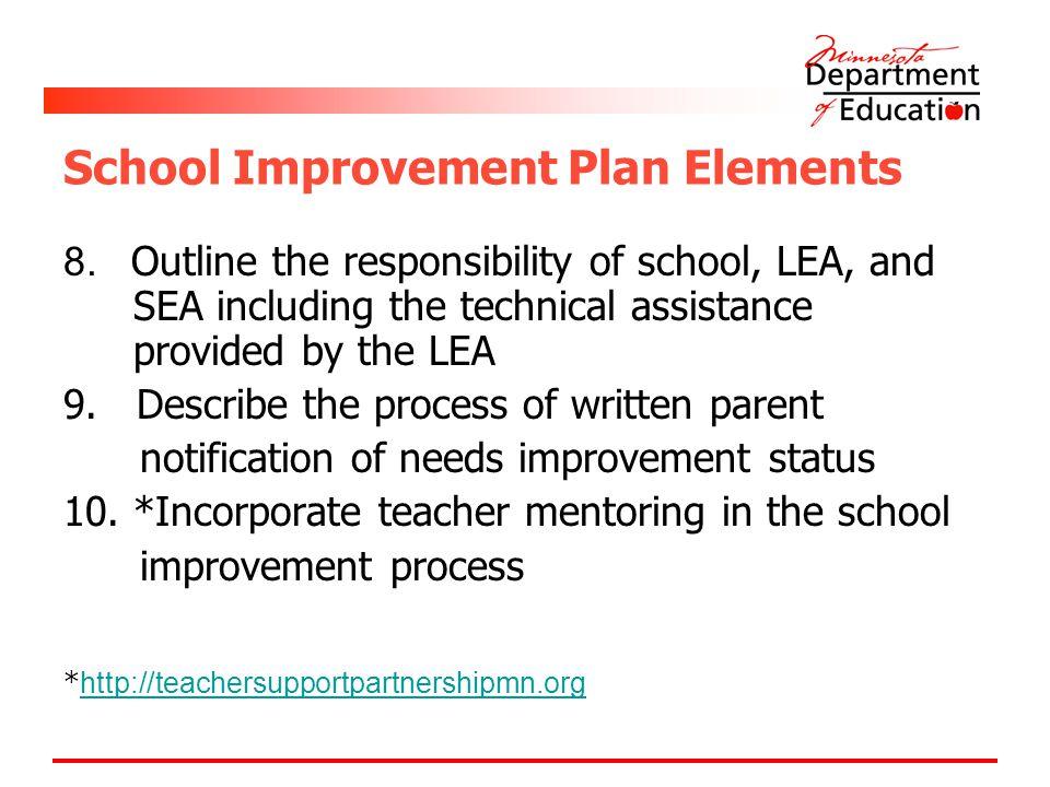 School Improvement Plan Elements 8.