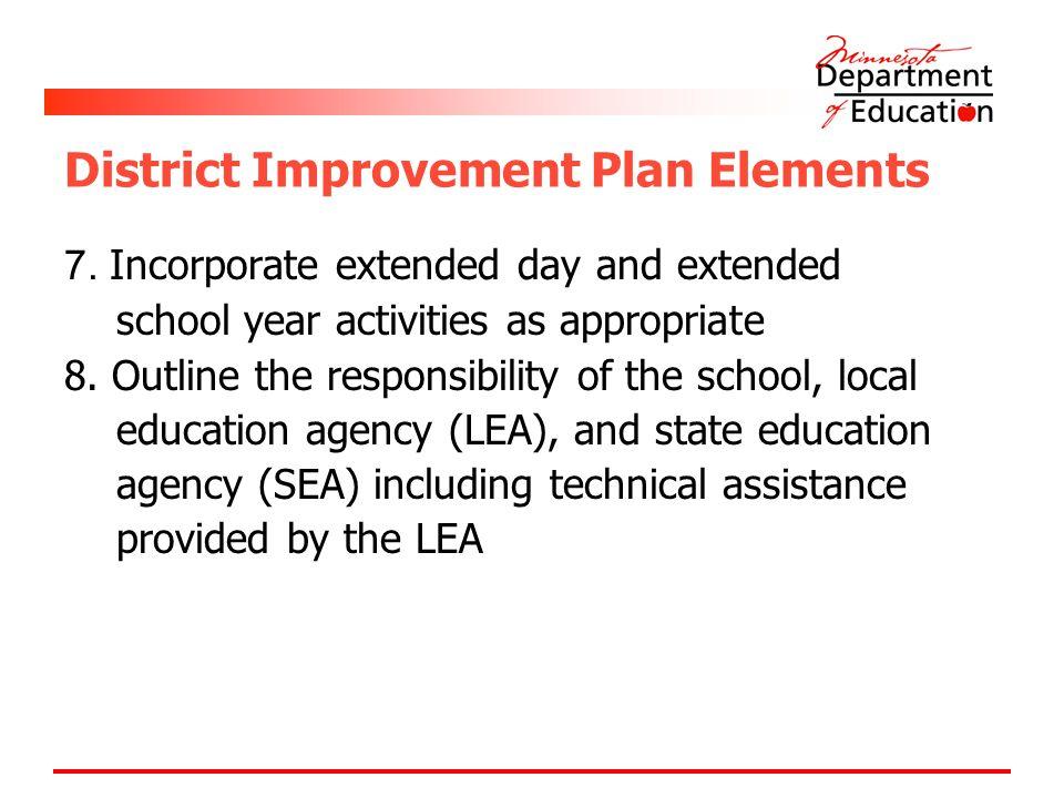 District Improvement Plan Elements 7.