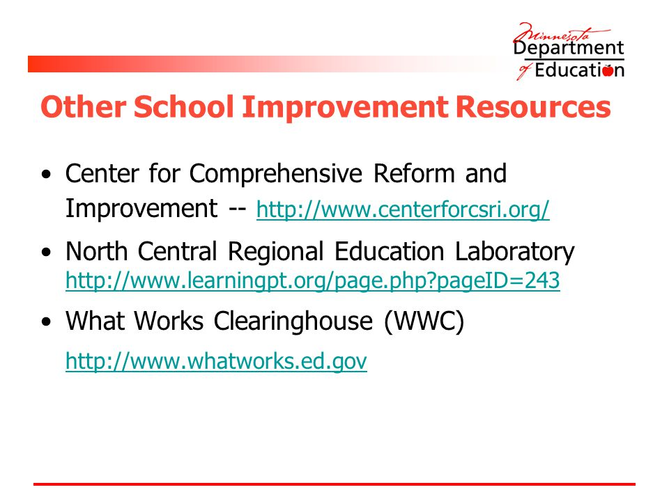 Other School Improvement Resources Center for Comprehensive Reform and Improvement -- http://www.centerforcsri.org/ http://www.centerforcsri.org/ North Central Regional Education Laboratory http://www.learningpt.org/page.php pageID=243 http://www.learningpt.org/page.php pageID=243 What Works Clearinghouse (WWC) http://www.whatworks.ed.gov http://www.whatworks.ed.gov